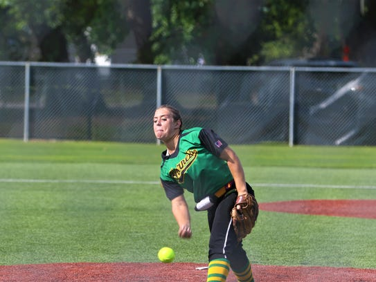 Plainview pitcher Madison Pippen hurls a pitch during