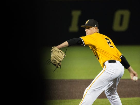 Iowa pitcher Zach Daniels delivers a ball during a