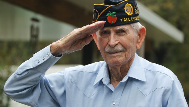Edmond Stearman served in World War II. At 96, he remembers his years with the U.S. Navy and the soldiers with whom he served. He writes poetry of his combat days. He also dances at the American Legion Hall near Lake Ella.