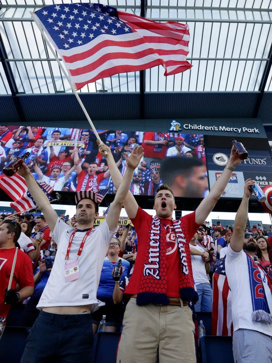 Fans cheer before an international friendly soccer match between the United States and Bolivia on Saturday, May. 28, 2016, in Kansas City, Kan. (AP Photo/Colin E. Braley)