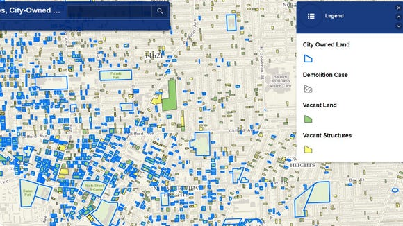 A screenshot of Rochester's Vacant Lots & Structures