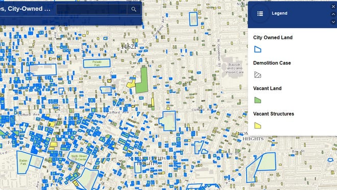 A screenshot of Rochester's Vacant Lots & Structures map.