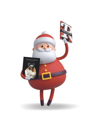 Santa Claus with his favorite books.
