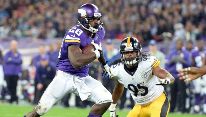 Vikings RB Adrian Peterson burned the Steelers for two TDs in London.