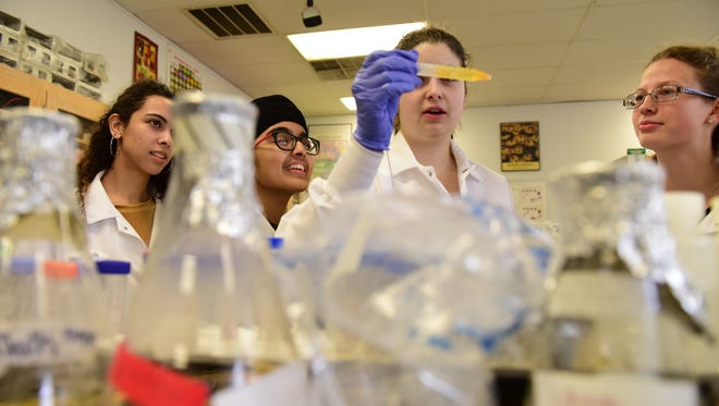 "Today's science students are grappling with the central ethical question raised by Mary Shelley's ""Frankenstein,"" which turns 200 this year: Just because you can do something, should you do it? From left, Kaia Rendo, Sahibpreet Kaur, Julia Parsley and Kinga Dabek experiment in a science lab at Bergen County Academies in Hackensack."