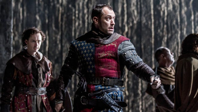 """Jude Law as in the lead role of Shakespeare's """"Henry V"""" at the Noel Coward Theatre in London."""
