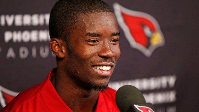 Former Pittsburg State wide receiver John Brown, a rookie draft pick, talks to the media at the Cardinals training facility in Tempe.