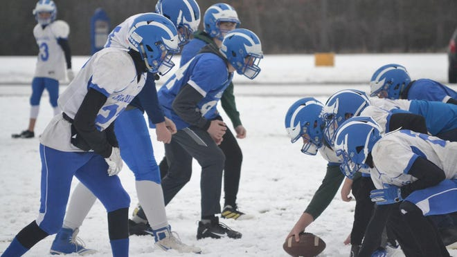 Inland Lakes football players practice on Tuesday afternoon in preparation for Saturday's MHSAA 8-Player Division 1 state semifinal showdown at Suttons Bay. Saturday will mark the first-ever state semifinal game played by the Bulldogs.