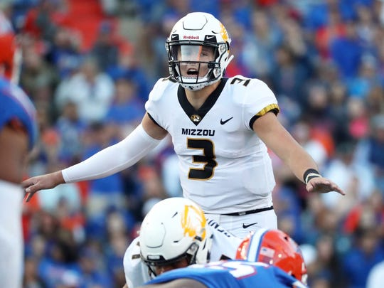 Nov 3, 2018; Gainesville, FL, USA; Missouri Tigers quarterback Drew Lock (3) calls a play during the second half at Ben Hill Griffin Stadium. Mandatory Credit: Kim Klement-USA TODAY Sports