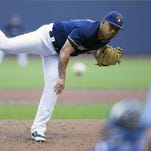 Milwaukee Brewers pitcher Junior Guerra (41) throws a pitch during the first inning against the Los Angeles Dodgers at Miller Park Wednesday.