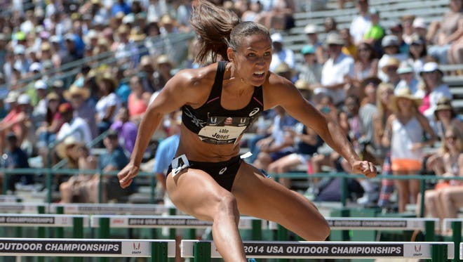 Lolo Jones, shown at the USA Championships last month, finished second in the 100-meter hurdles at the Glasgow Grand Prix Saturday.