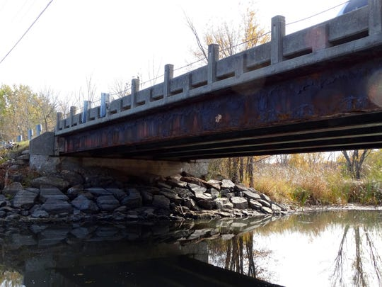 Beam corrosion is apparent on the Bay Road Bridge in Sheburne. Voters will decide Tuesday whether to support a $3 million bond issue to replace the span.