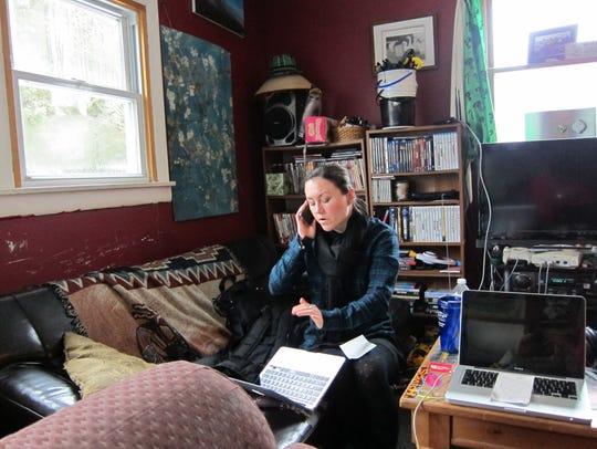 Melissa Ham-Ellis works the phone for Bernie Sanders