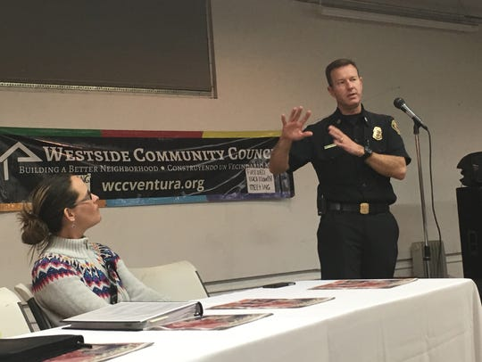 Ventura assistant Fire Chief Matt Brock talks to residents about the Thomas Fire and the importance of being prepared for another disaster.