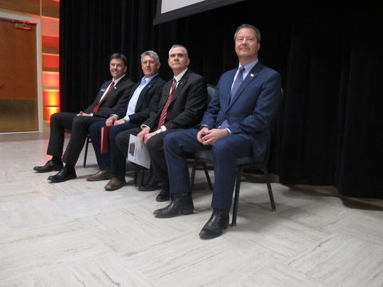 The four Republican candidates for U.S. Senate wait to debate at Montana State University on March 22, in Bozeman, Montana. From left, Russell Fagg, Troy Downing, Matt Rosendale and Al Olszewski are competing for the chance to challenge Democratic Sen. Jon Tester this fall. (AP Photo/Matt Volz)