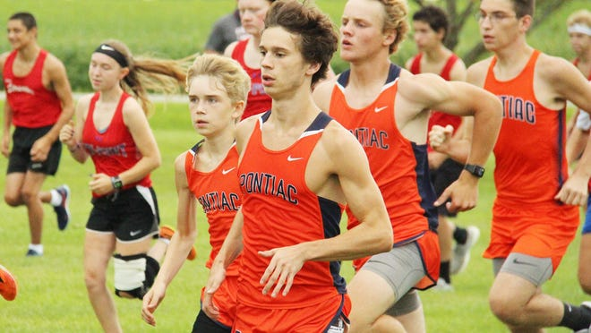 Sam Fogarty and Aiden Christenson lead Pontiac's harriers at the start of Tuesday's cross country meet at the Rec-Plex. Fogarty placed second overall and Christenson was the fourth PTHS runner to finish in a 17-44 win over Streator.