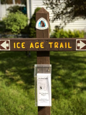 A new sign outside the Mishicot Historical Museum marks the Ice Age Trail's route through Mishicot.