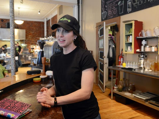 Lindsay Anderson talks about the new location for the Tree House Coffee Shop in the former Fioriware building at the corner of Market and Fourth Streets in downtown Zanesville.