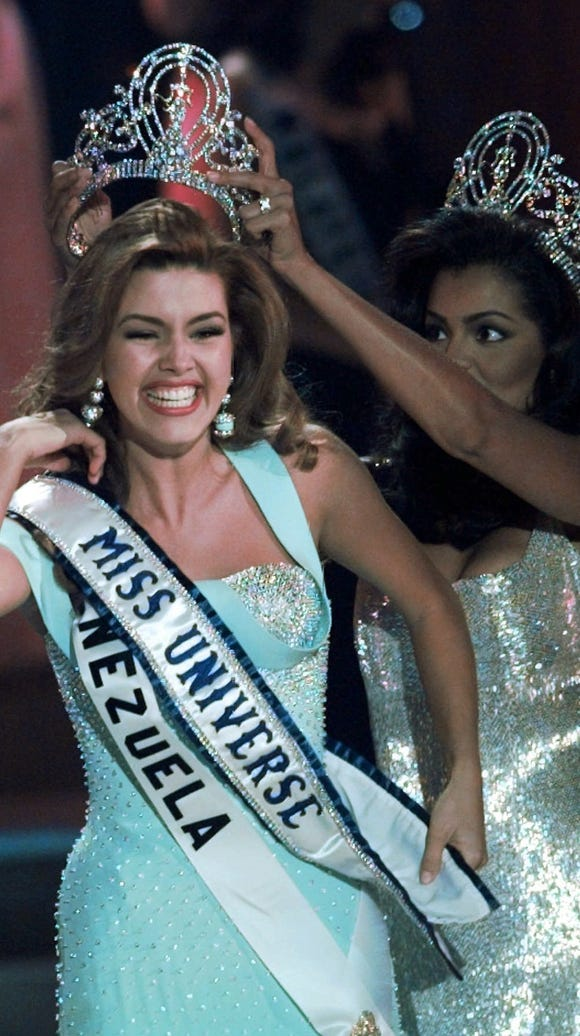 In this May 17, 1996 photo, the new Miss Universe Alicia