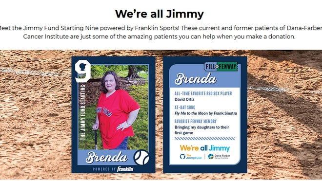Brenda Sumner, of Lancaster, is featured as a member of the Jimmy Fund Starting Nine, in the Fill Fenway virtual fundraising event.