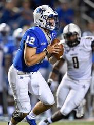 Middle Tennessee quarterback Brent Stockstill looks