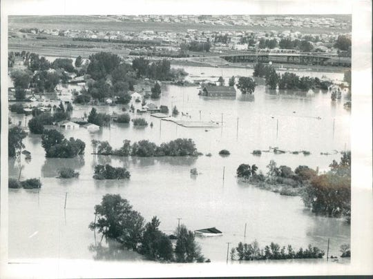 The lower Sun River area of Great Falls flooded in 1964.