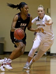 Midwestern State's Kristin Rydell guards Southern Nazarene's