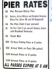 Fees for Bob Hall Pier are posted at the gate.