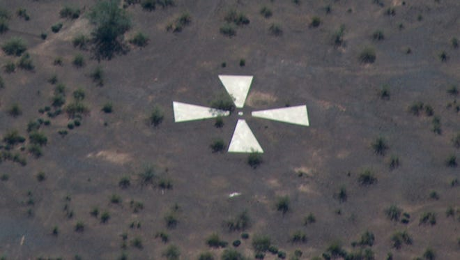 Some of the spy-satellite calibration targets are as noticeable as they were when built.