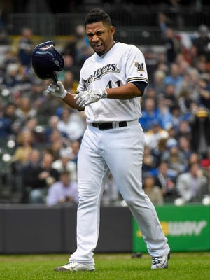 Brewers pitcher Junior Guerra grimaces after injuring a muscle while putting down a sacrifice bunt in the third inning Monday at Miller Park. Guerra had to leave the game due to an injury.