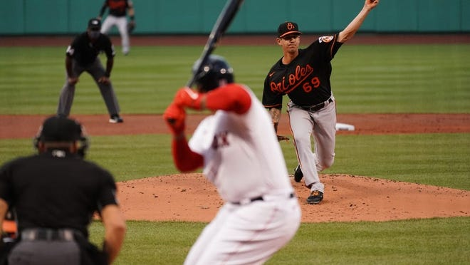 Orioles starting pitcher Tommy Milone in the first inning against the Red Sox at Fenway Park, Friday, July 24, 2020.