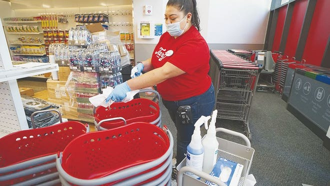 Target baskets are cleaned to ensure shopper safety during the COVID pandemic.