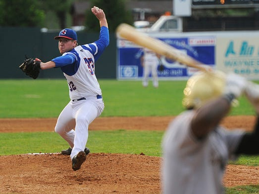 Staunton Braves pitcher Tyler Zombro, a Robert E. Lee High School graduate, fires one in against the Charles Town Cannons during their Valley Baseball League game Staunton on Monday, July 21, 2014.