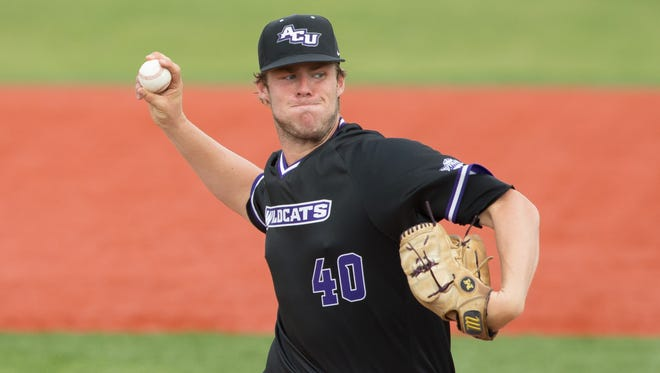 Abilene Christian University starter Brock Barger gets ready to fire a pitch during a Southland Conference baseball game at Joe Miller Park in Lake Charles, La., on Friday, April 6, 2018. Barger is a former San Angelo Central High School standout.