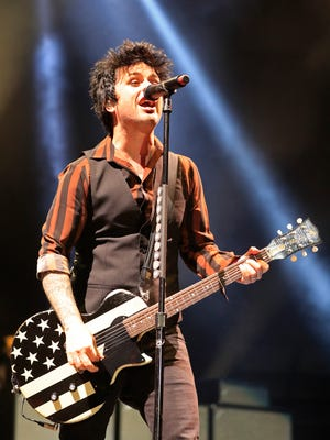 Green Day singer/guitarist Billie Joe Armstrong performs at the Resch Center on Thursday, March 30, 2017, in Ashwaubenon, Wis. 
