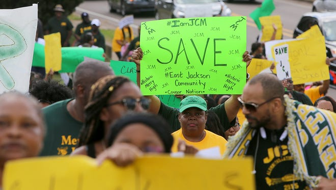 The I Am JCM Coalition marched Saturday, Oct. 10, 2015, to protest the potential closure or repurposing of Jackson Central-Merry High School under Vision 2020.