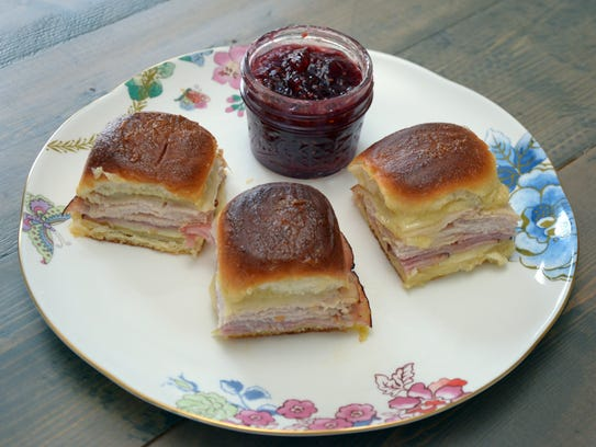 Monte Cristo sandwiches are served with jam after baking.