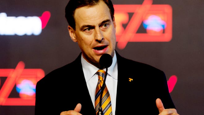 Tennessee Director of Athletics John Currie speaks during a press conference announcing new information concerning the Tennessee Lady Vols name, logo and brand at the Ray & Lucy Hand Digital Studio on the UT campus in Knoxville, Tennessee on Thursday, September 14, 2017.