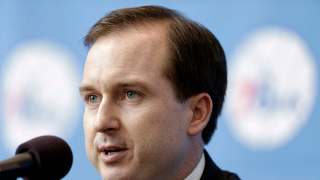 Philadelphia 76ers general manager Sam Hinkie, speaks during a news conference Wednesday, Aug. 14, 2013, in Philadelphia.