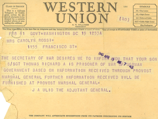 Western Union telegram advising WWII vet Richard Thomas' mother that her son was a prisoner of war.