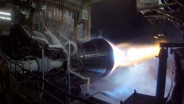 Blue Origin test fires its BE-4 engine on Wednesday.