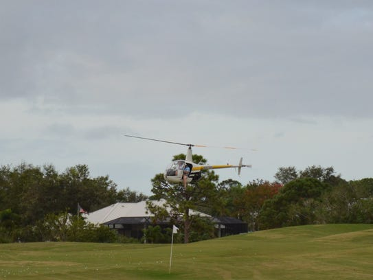 Martin Sims, from Atlantic Helicopters, flew Roy Monk