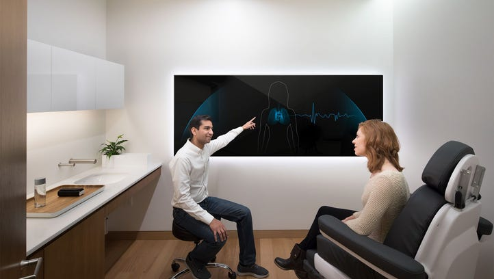 A digital screen displays crucial patient data in Forward's doctor's office.