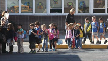 Congers Elementary School students outside St. Augustine's school in New City in October.