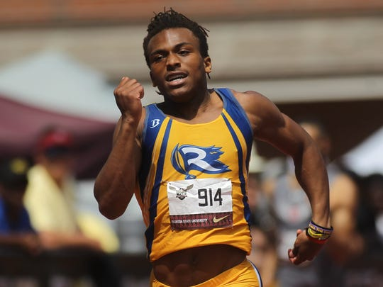 Rickards' Trevor Solomon-Wilson races to a win in the 400m dash at the 2018 FSU Relays.