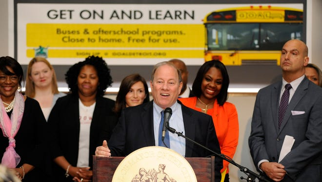 City of Detroit Mayor Mike Duggan addresses the media as he talks about the launch of the Northwest Detroit bus loop program, Monday, June 11, 2018, at the Northwest Activities Center in Detroit.