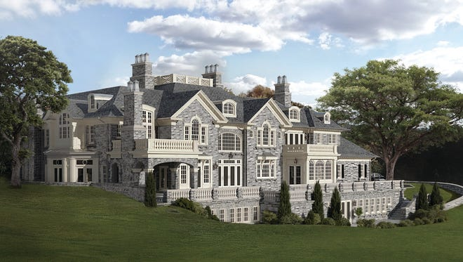 A rendering of the mansion at Greystone on Hudson that is now known as Estate E. It's at 6 Carriage Trail and will have a price tag of $13 million.