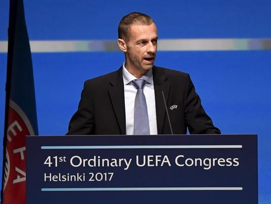 UEFA President Aleksander Ceferin  speaks  during The 41st Ordinary UEFA Congress on Wednesday April  5, 2017  in Helsinki, Finland on Wednesday April  5, 2017. (Markku Ulander/Lehtikuva via AP)