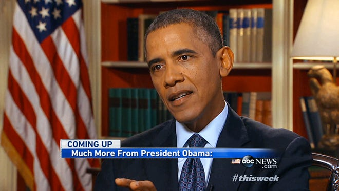 """President Obama is seen in an image from ABC's """"This Week""""on Sept. 15."""
