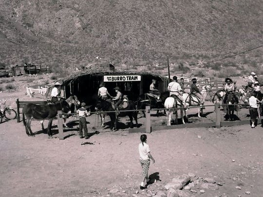 Burro Train starting point, circa 1950.